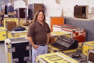 Dale in The Barn next to one of four Moog Taurus bass pedals